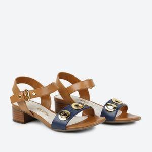 Anne Klein Ellamae Brown & Navy Sandals (7)